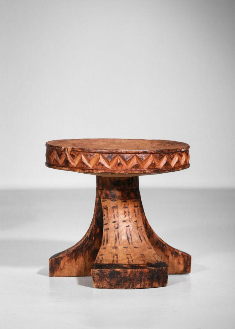 tabouret africain en bois massif années 60 vintage