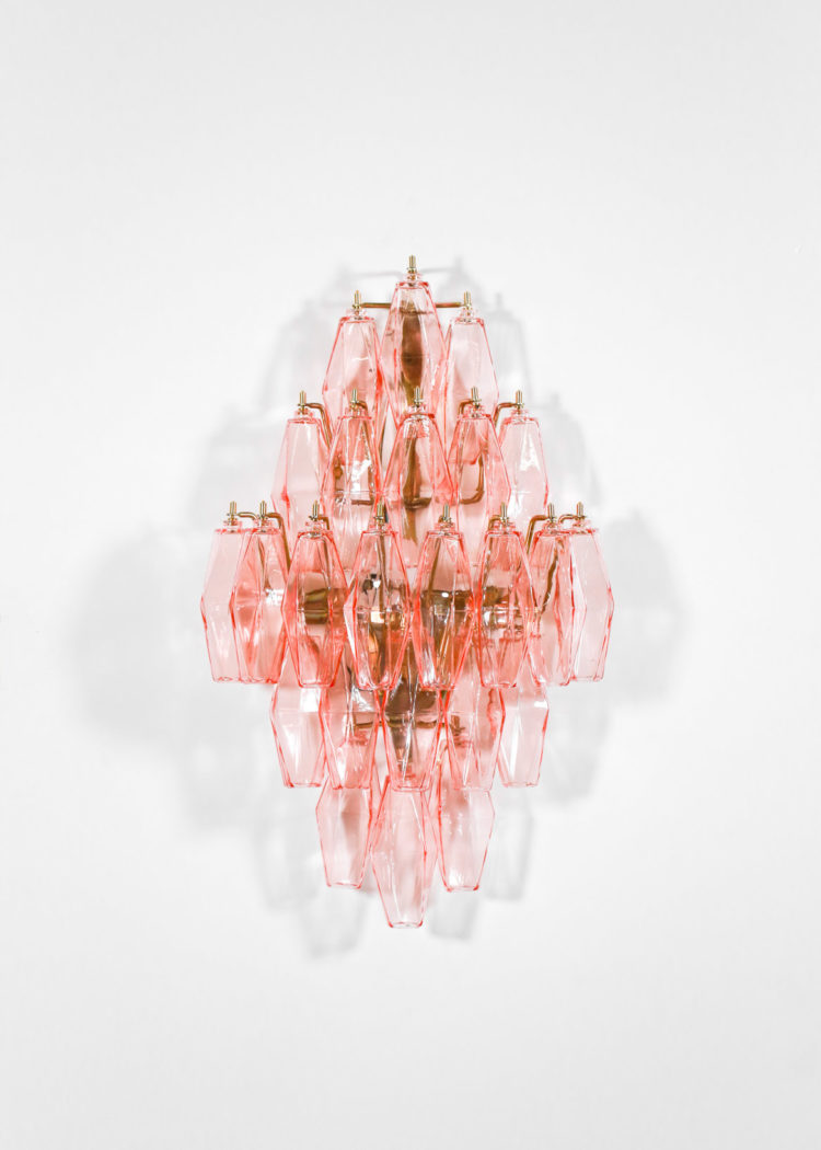 paire d'appliques diamant polyedre rose 6