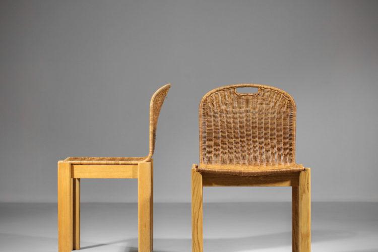 chaise italienne style tobia scarpa vintage chene et osier années 700