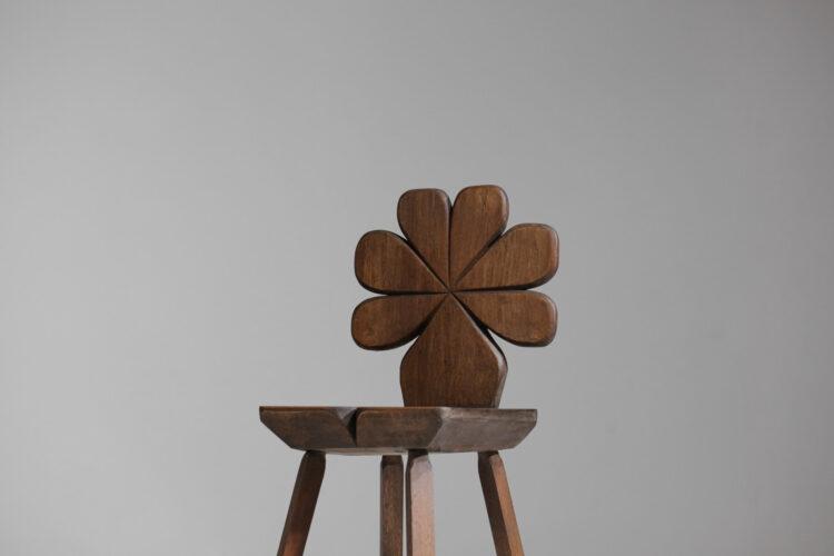 chaise trefle années 60 en bois massif 9