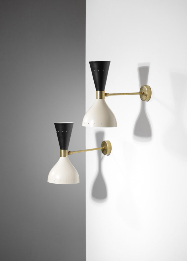 paire d'applique italienne moderne sablier noir et beige design vintage ML103