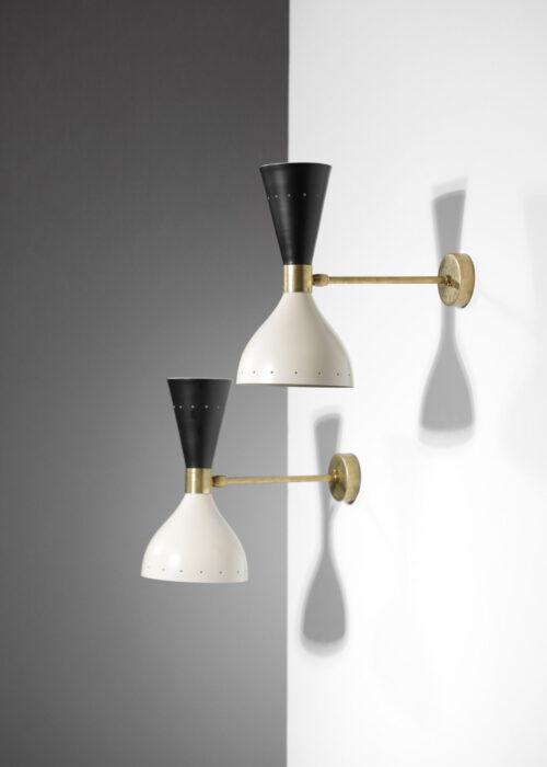 paire d'applique italienne moderne sablier noir et beige design vintage 1