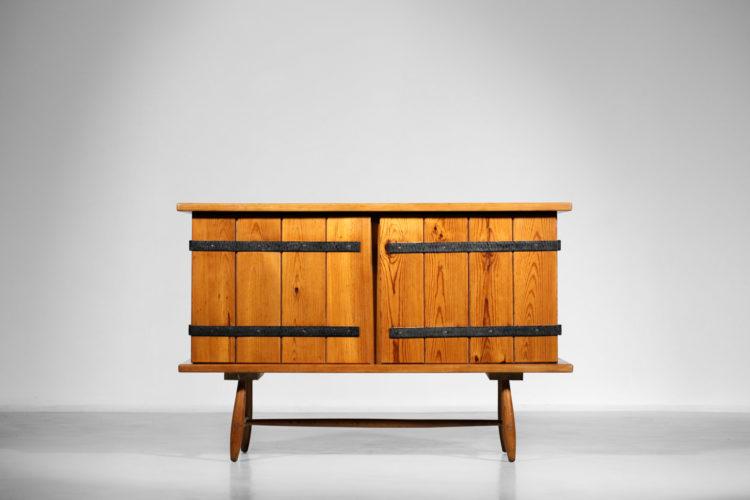 console brutaliste en bois massif vintage rustique F047