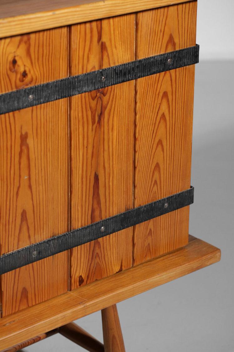 petite enfilade des années 60 en pin et fer forgé - E293