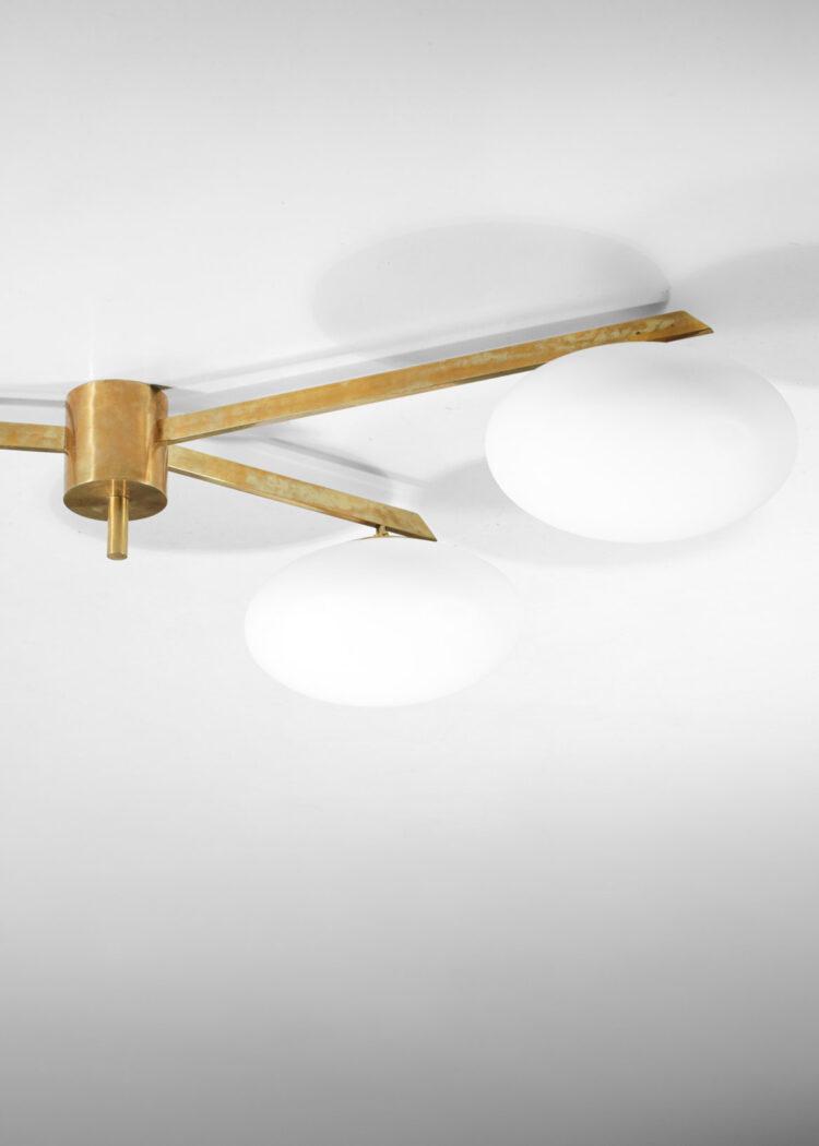 plafionnier italien moderne 3 opalines style angelo Lelli laiton GU105
