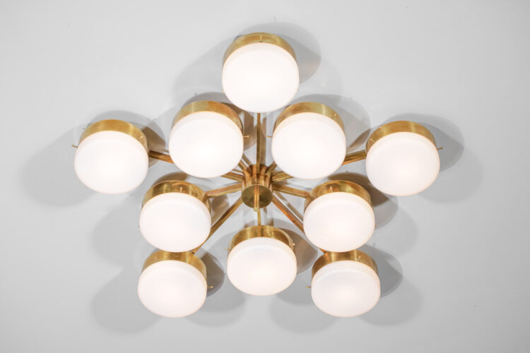 plafonnier italien style angelo lelli 10 opalines cylindrique vintage 1