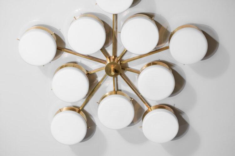 plafonnier italien style angelo lelli 10 opalines cylindrique vintage GU101