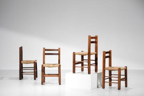 suite de 4 chaises francaise rustique paillé années 50 11