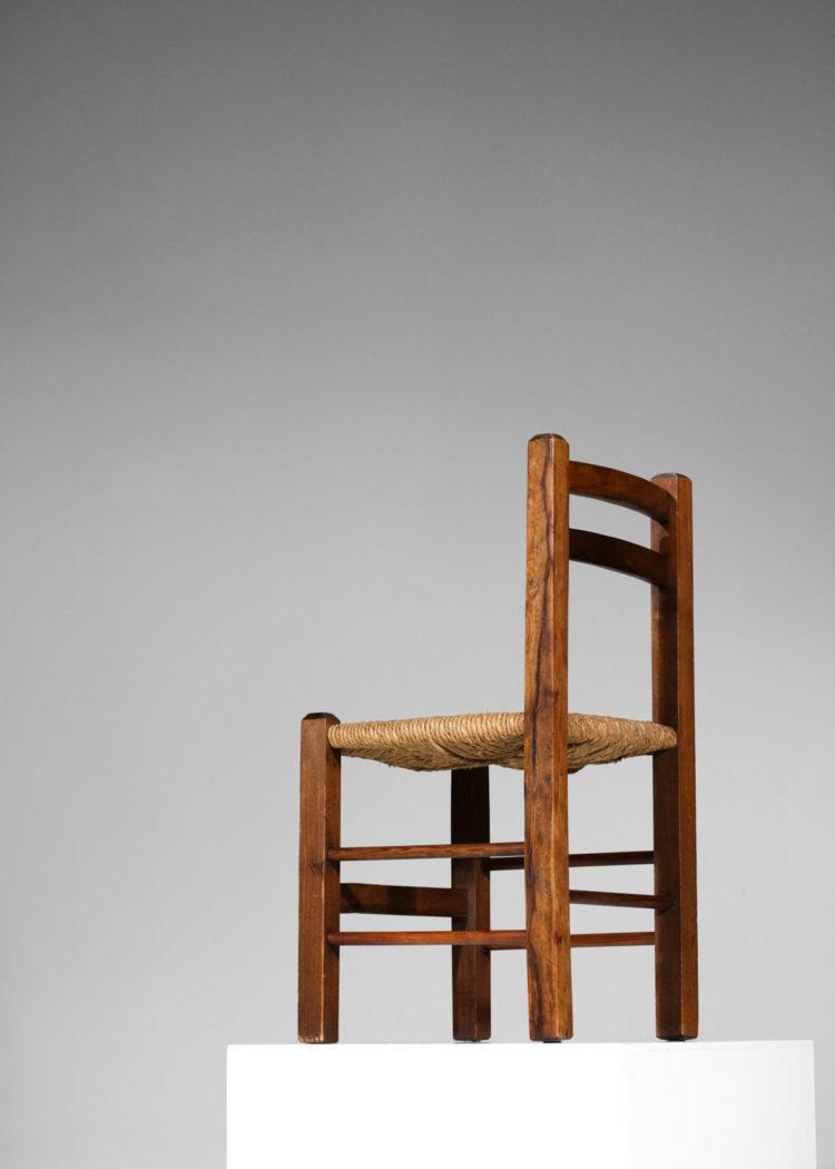 suite de 4 chaises francaise rustique paillé années 50 E579