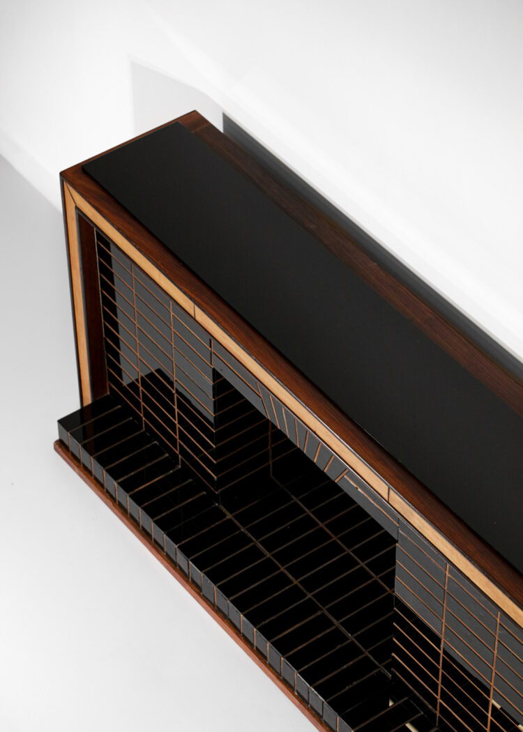 Buffet enfilade cheminé italienne Luigi Brusotti années 40 verre E460