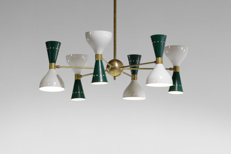 Lustre italien moderne 6 branches sablier vert et blanc stilnovo 1