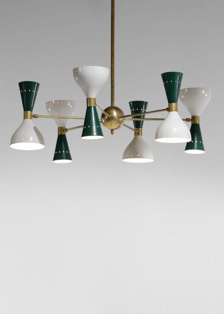 Lustre italien moderne 6 branches sablier vert et blanc stilnovo 0