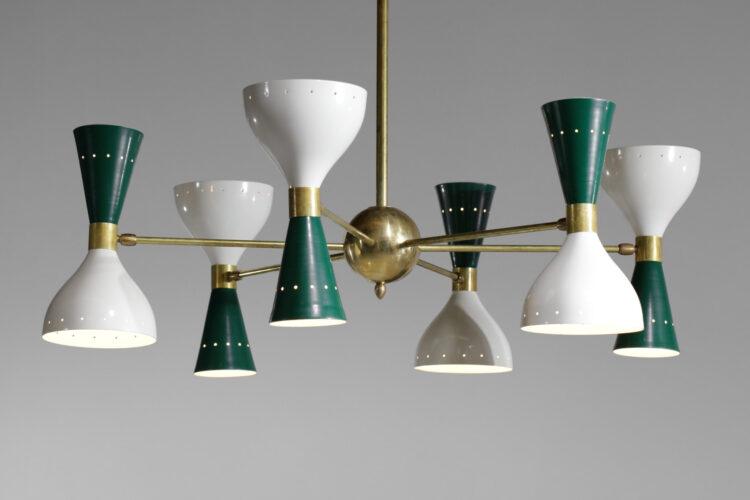 Lustre italien moderne 6 branches sablier vert et blanc stilnovo 8