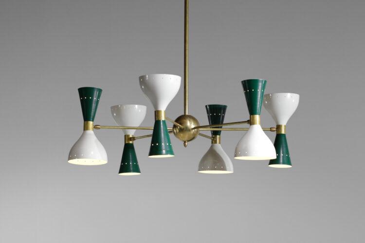 Lustre italien moderne 6 branches sablier vert et blanc stilnovo