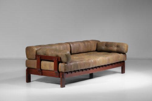 canapé banquette style de sede en cuir design années 60 C232 13