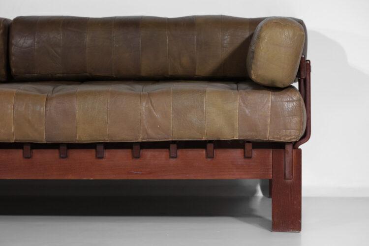 canapé banquette style de sede en cuir design années 60 C232