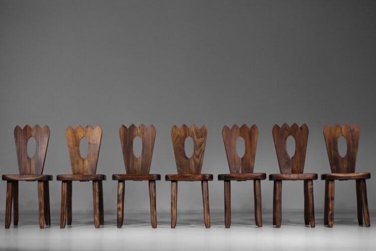 chaises francaise regionaliste en orme massif style hanninen olavi
