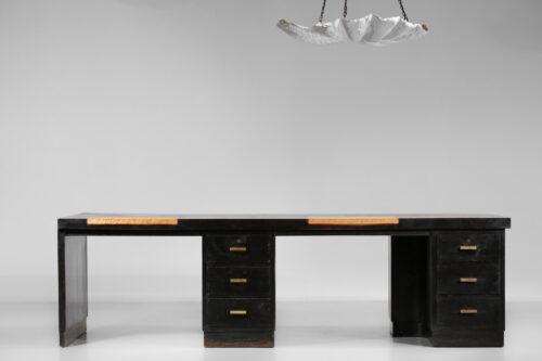 grand bureau des années 40 Pierre Pouradier Duteil en bois noirci moderniste F064 31
