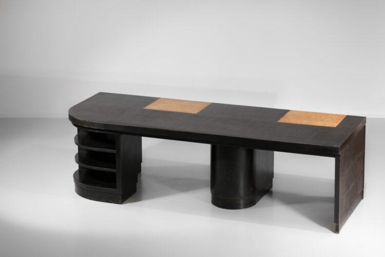 grand bureau des années 40 Pierre Pouradier Duteil en bois noirci moderniste F064