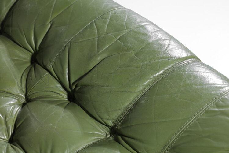 grande table canapé bresilien percival lafer 3 places cuir kaki années 60 E321