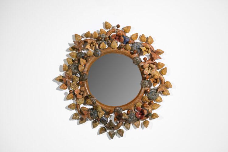 miroir en ceramique rond années 60 style line vautrin E390