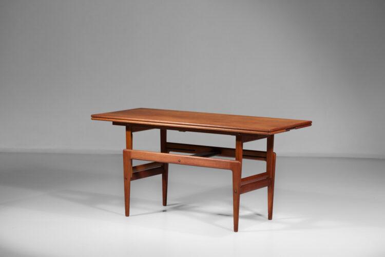 table basse danoise en teck transformable en table de salle à manger scandinave F136