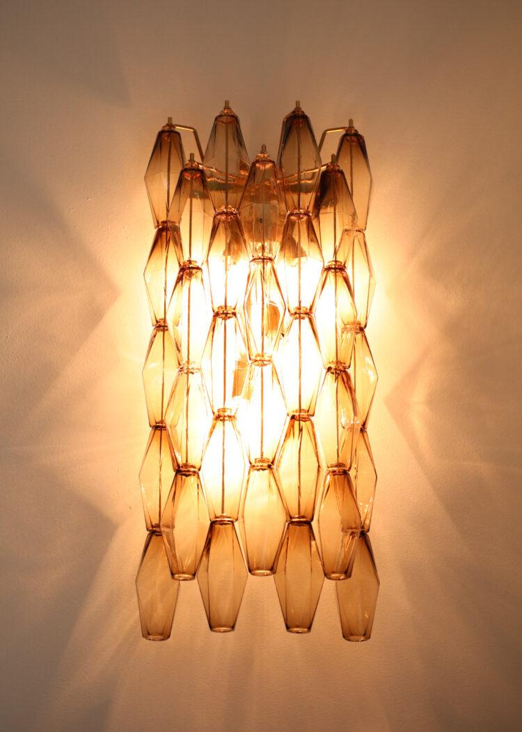 paire d'appliques polyèdres cascade en verre de murano style scarpa EL1342