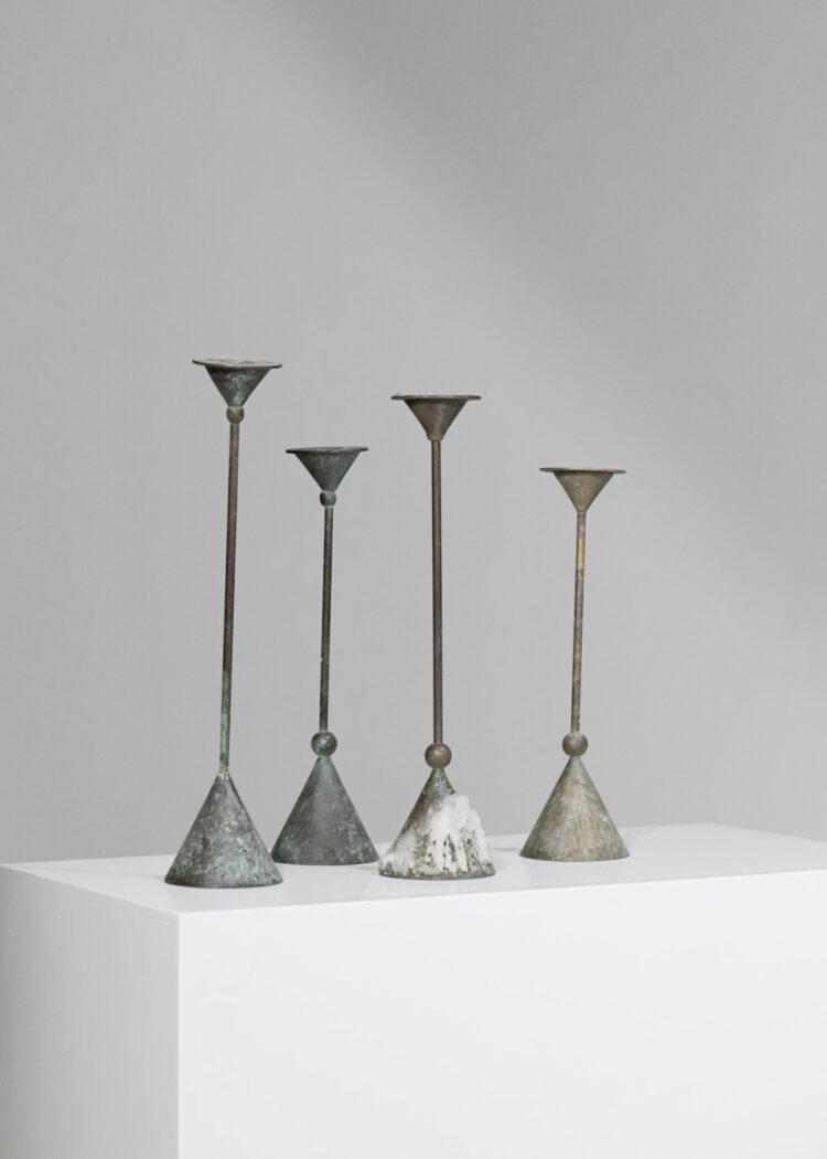 Lot de 4 bougeoirs en bronze des années 50