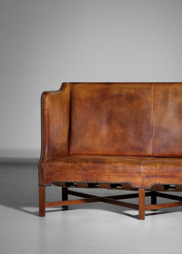 canapé banquette danois kaare klint model 4118 cuir cognac Rud Rasmussen