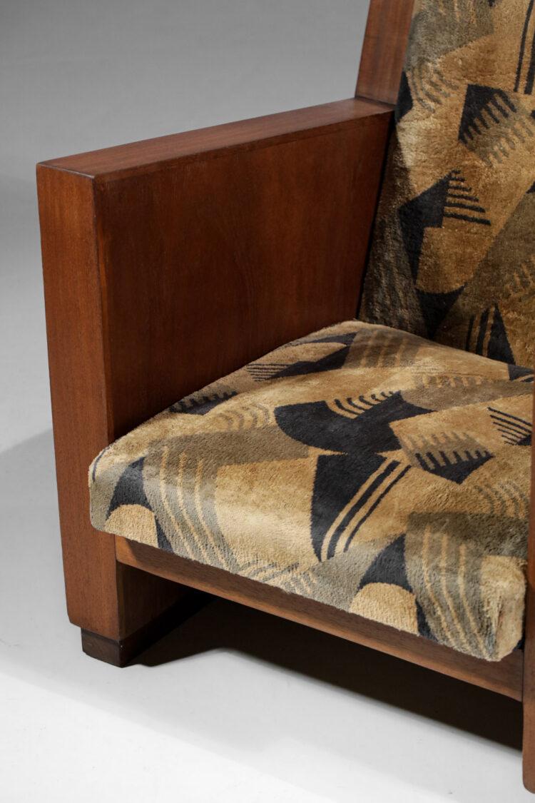 fauteuil art deco francais moderniste tissu a decor geométrique 1930 E121