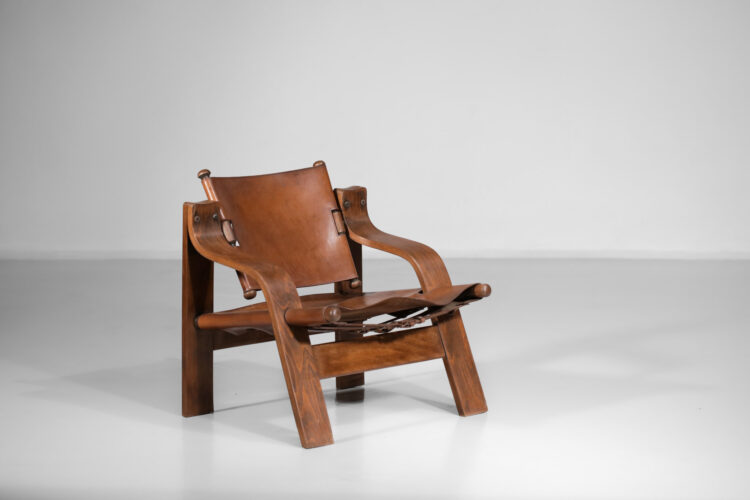 fauteuil en cuir des années 50 contreplaqué courbé D176