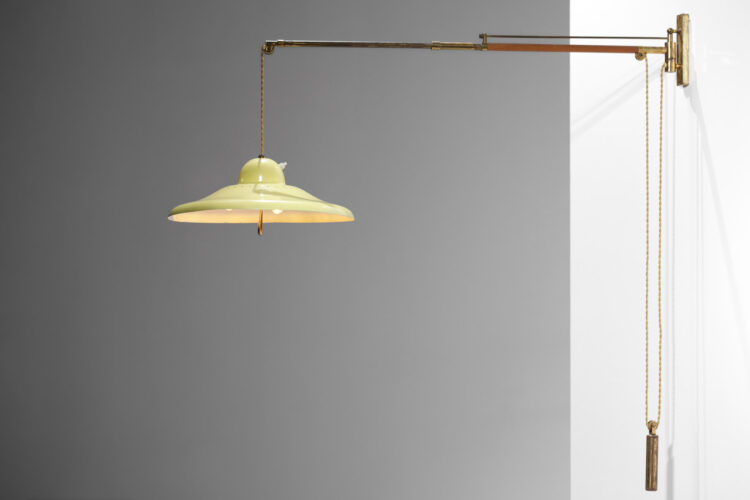 lampe potence italienne d_époque style arredoluce poulie jaune F078