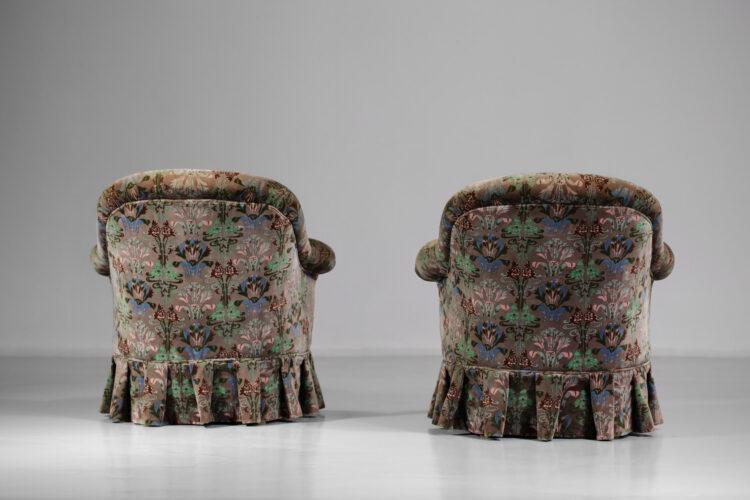 paire de fauteuils crapaud années 40 retapissés