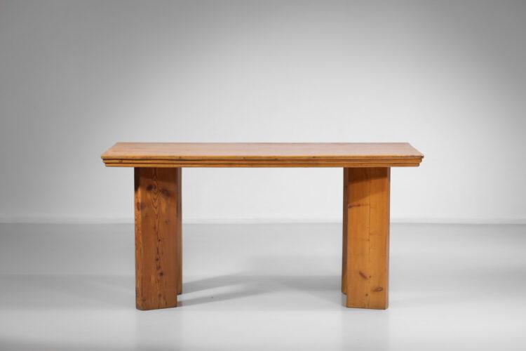 petite table bureau en pin années 80 dans le gout de charlotte perriand