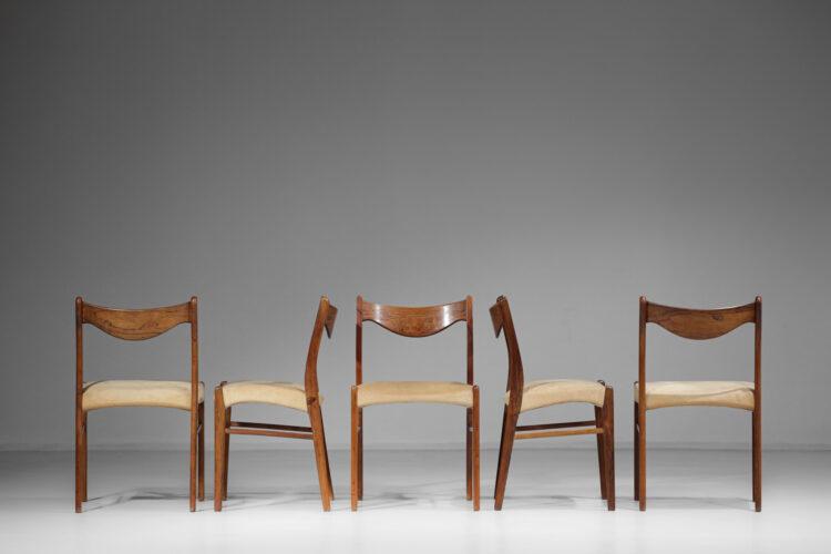 suite de 5 chaises danoise en palissandre de rio scandinave E407