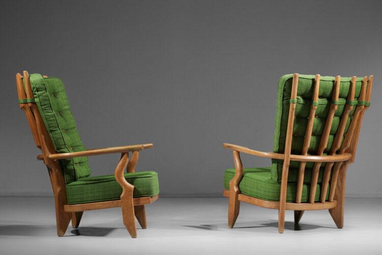"Duo fauteuils ""Grand repos"" Guillerme et Chambron chêne massif - E533"