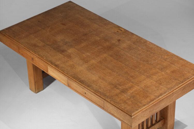 Bureau moderniste chêne massif années 60 façon Frank Lloyd Wright