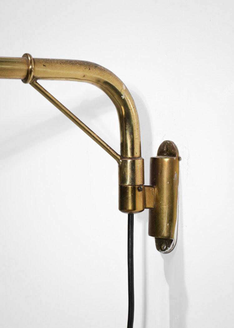 Lampe potence italienne style Gino Sarfatti années 60 abat-jour métal beige