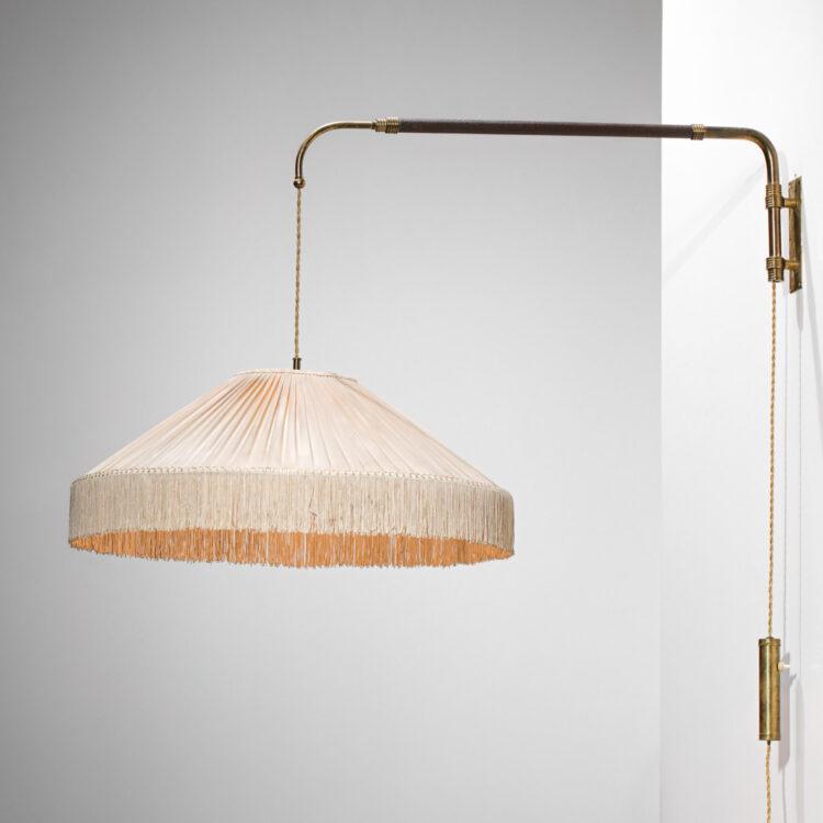 lampe potence italienne style Gino Sarfatti années 60 abat-jour soie