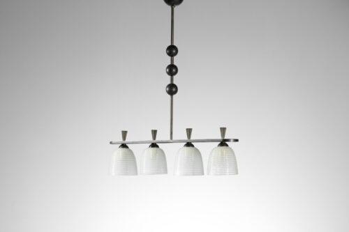 Lustre italien 4 diffuseurs en verre de Murano design vintage