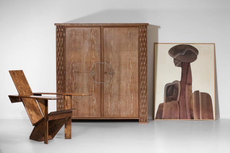 Armoire bois cérusé années 30 / 40 moderniste style Jean Michel Franck