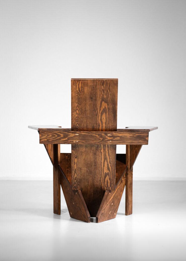 Fauteuil en bois d'Oregon années 80 design vintage