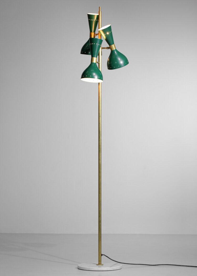 "Lampadaire moderne italien laiton 3 spots design vintage stilnovo vert ""Gira"""