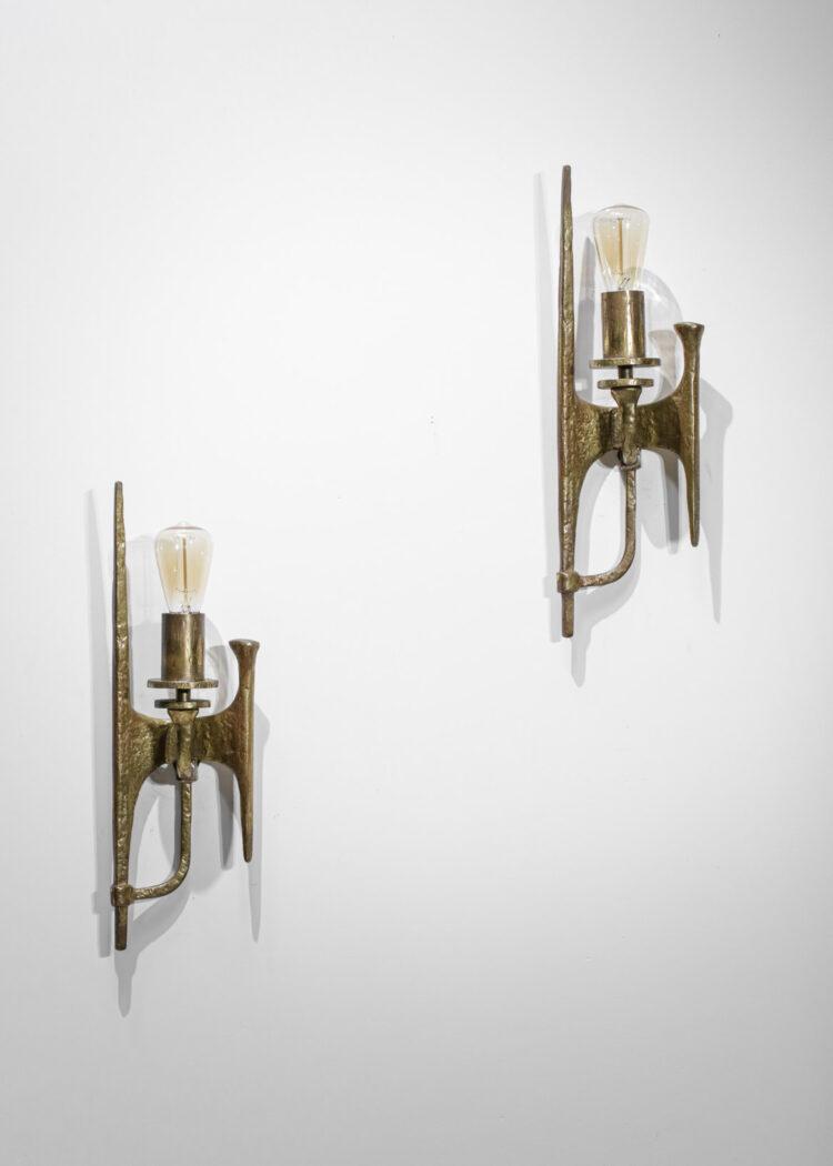 Paire d'applique bronze doré années 60 design vintage