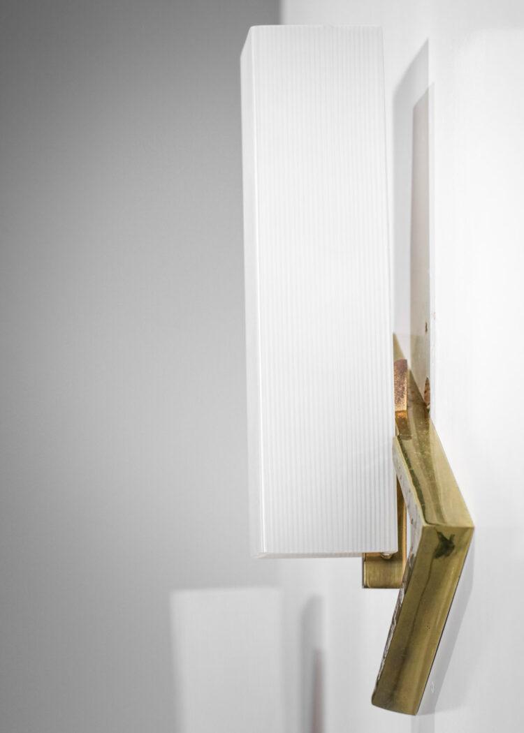 Paire d'appliques Arlus années 60 opaline carrée bronze doré