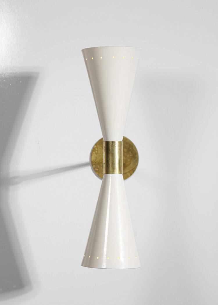 """Paire d'appliques modernes style vintage grands diabolos blanc """"Tuba"""""""