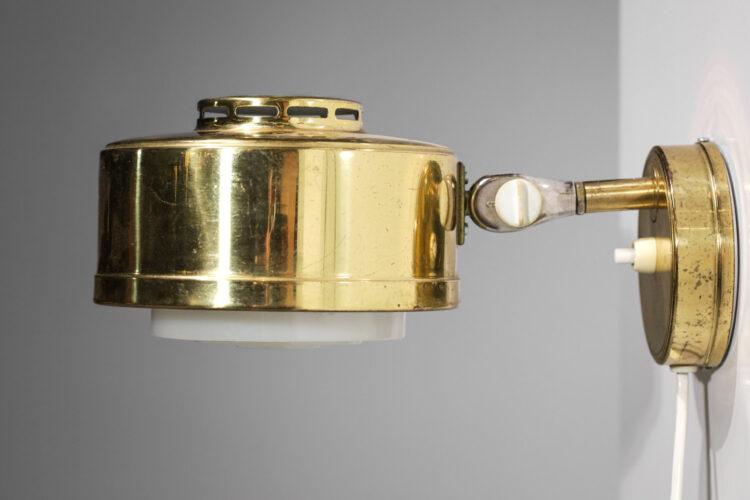 Paire d'appliques scandinave ASEA années 60 rondes laiton