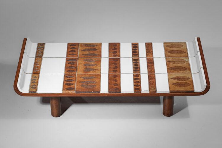 Table basse en céramique Roger Capron modèle herbier