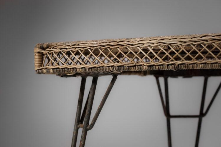 Table rotin tréssé style Matego design vintage
