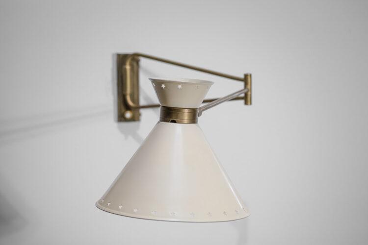 lampe potence Lunel années 50 vintage étoiles laiton